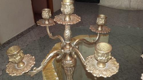 Candelabro hermoso antiguo de bronce 5 velas