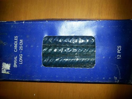 Velas torneadas 25 cm, cajas de 12 unidades,
