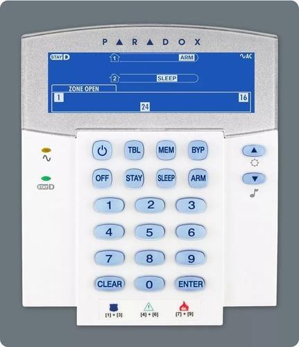 Central sp7000 (16 a 32 zonas) + teclado k35 lcd paradox