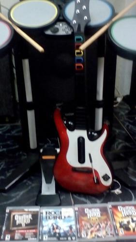 Bateria y guitarra con juegos play3