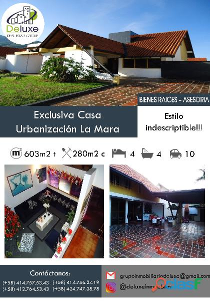 Fabulosa casa arquitectura estilo único, 603m2t, 280m2c. Urbanización La Mara 12