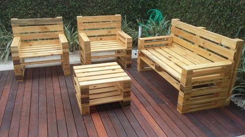 Juego de muebles recibo de paletas madera pino jardín