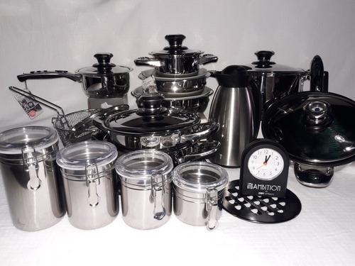Juego de ollas 30 piezas de acero 18/10 con utensilios nuevo