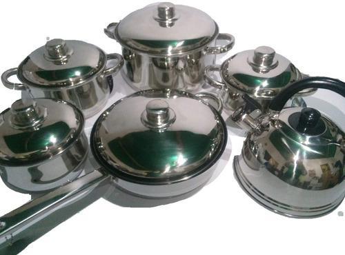 Juego de ollas de acero 12 piezas extra-pesadas alemanas