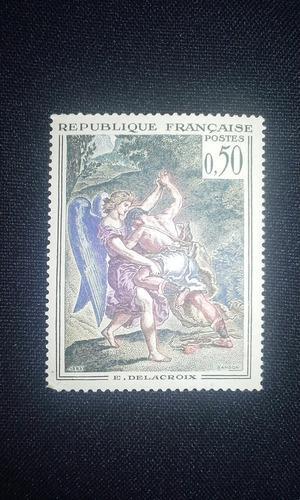 Estampilla de francia republica de francia delacroix 25 vrds