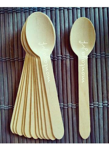 Cuchara madera cucharita tenedor bambú 36und recuerdo candy