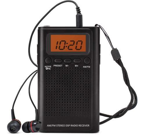 Radio de bolsillo am fm, portatil alarma, reloj. horologe