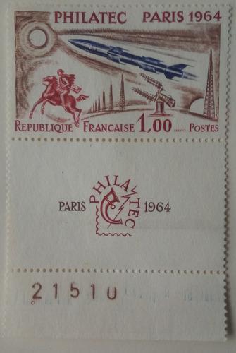 Estampilla de francia. exhibición filatélica philatec.