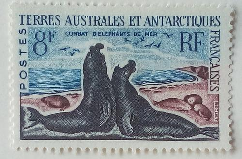 Estampilla de la antartica francesa. colonia francesa. 1962.