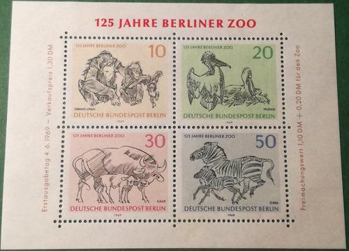 Estampillas de berlín, alemania. serie 125 aniv. zoo