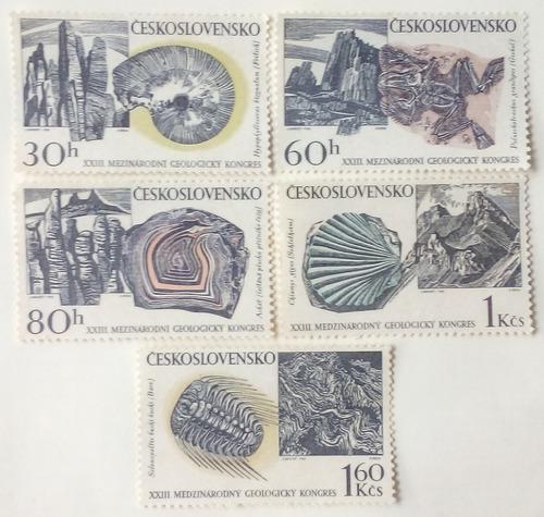 Estampillas de checoslovaquia. congreso geológico intl.