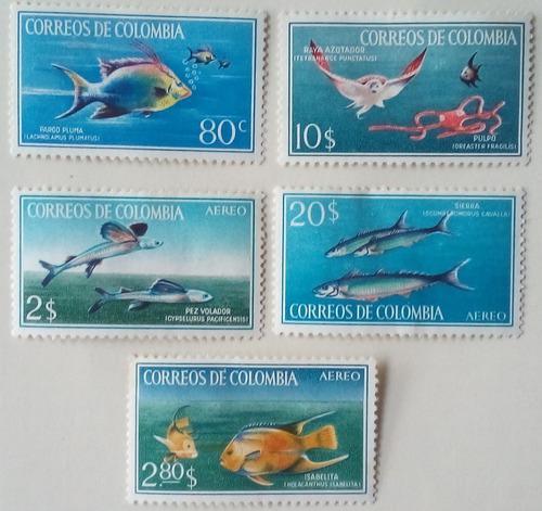 Estampillas de colombia. serie: peces. 1966.