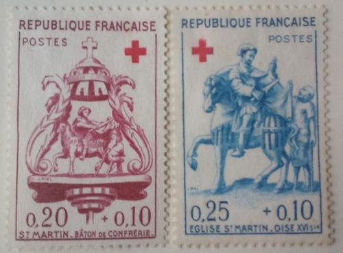 Estampillas de francia. serie: cruz roja. 1960.