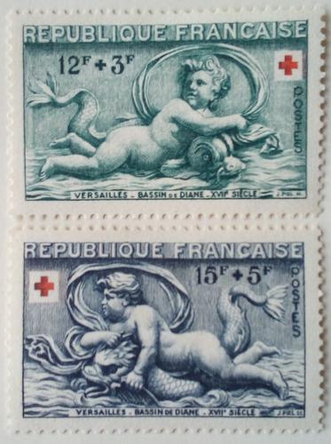 Estampillas de francia. serie: cruz roja. año: 1952.