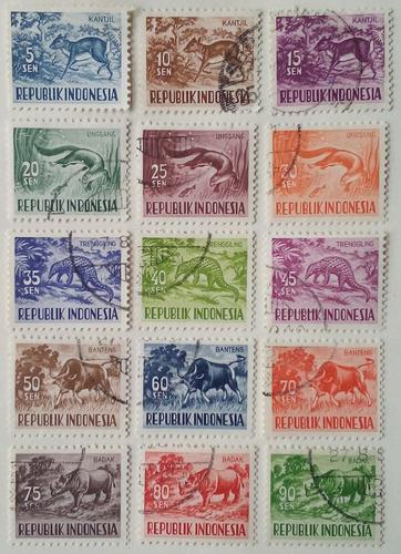 Estampillas de indonesia. serie: anímales domésticos.