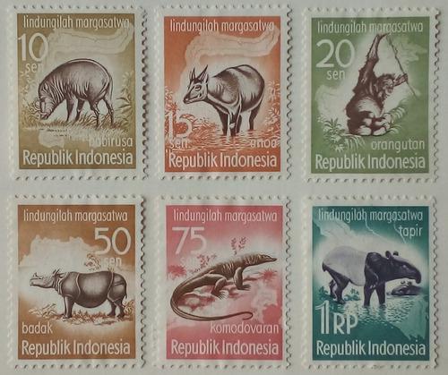 Estampillas de indonesia.s/campaña de protección