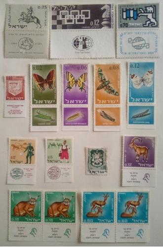 Estampillas de israel. series variadas de los años 60.