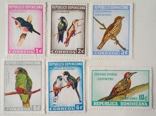 Estampillas de república dominicana. serie: pájaros. 1964.