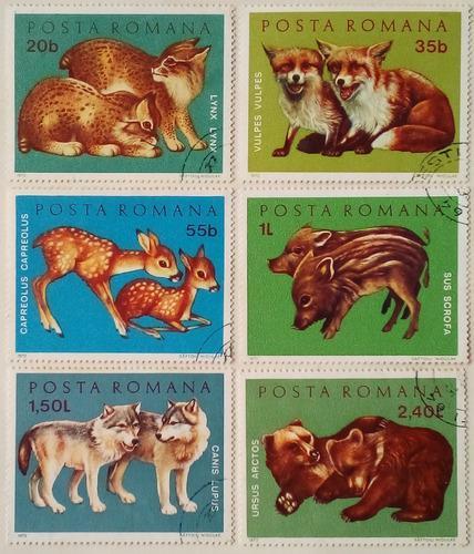 Estampillas de rumania. serie: animales jovenes, 1972.