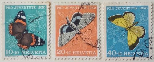 Estampillas de suiza. serie: pro-juventud. insectos. 1950