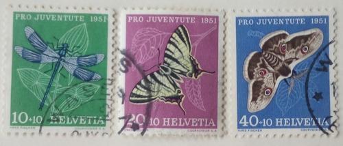 Estampillas de suiza. serie: pro-juventud. insectos. 1951.
