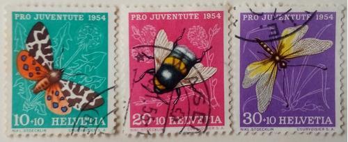 Estampillas de suiza. serie: pro-juventud. insectos. 1954,