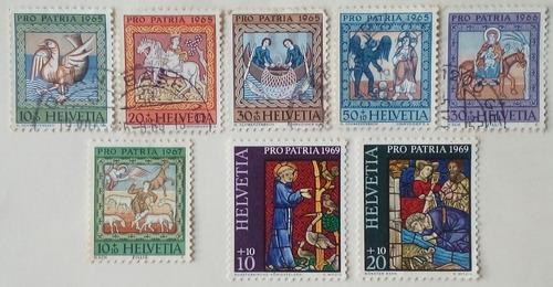 Estampillas de suiza. varias serie pro-patria 1965,66,67/69.