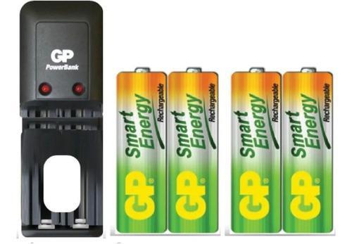 Cargador gp + 4 baterías pilas aa 1000 mah recargables