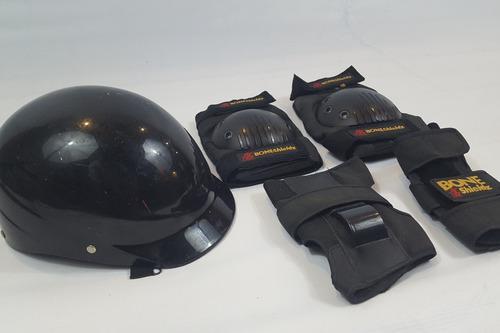 Juego de rodilleras, antifracturantes y casco, bone shieldz