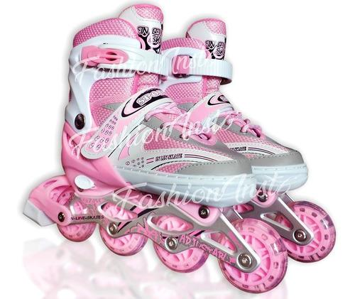 Patines lineales con luces rosados