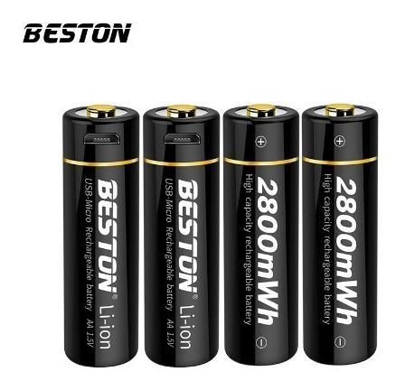 Bateria Pila Recargable Usb Beston 2800mwh 1.5v Carga