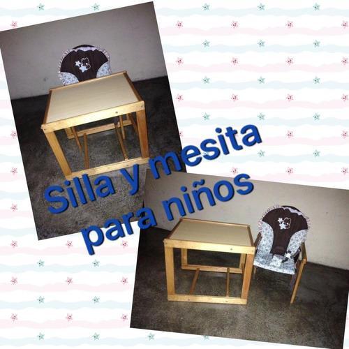 Mesita y silla de madera multiuso para niños y niñas