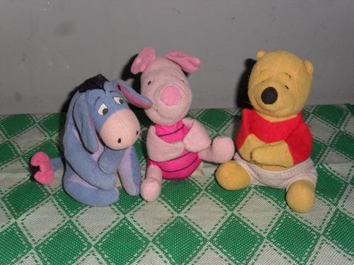 Un Set De 3 Peluches Miniatura Winnie Pooh,cerdito Y Burro