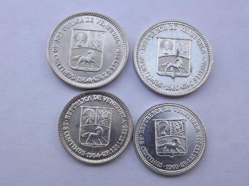 4 monedas de plata: 50 y 25 centimos de bolívar. 1954 y