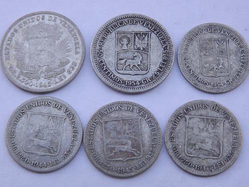 6 monedas d plata: 1/2 y 1/4 de bolívar.