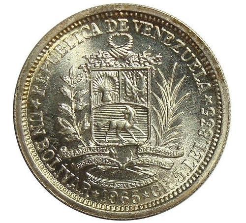 Agradable bolivar de plata moneda de venezuela de 1965.