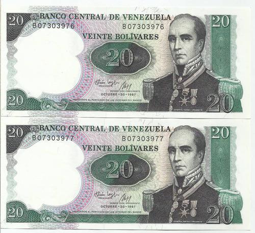 Dos billetes 20 bs bolívares. octubre 20 año 1987 serial