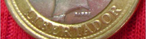Moneda de 1 bolivar de 2007 con error bs.1.800.700._