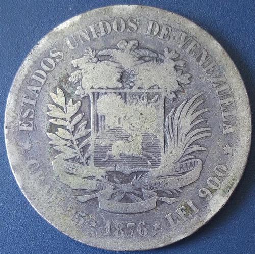 Moneda de 1 venezolano de plata de 1876 (fuerte)