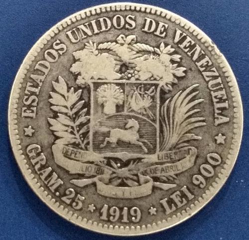 Moneda de 5 bolívares de 1919 fuerte de plata