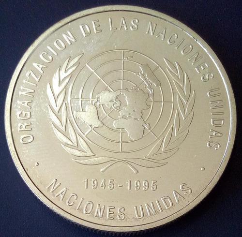 Moneda de plata conmemorativa del 50 aniversario de la onu