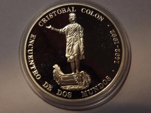 Moneda de plata. encuentro dos mundos. 1100 bolívares