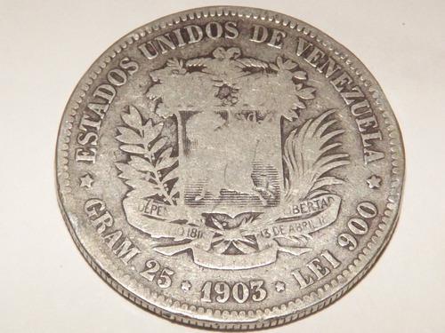 Moneda de plata. fuerte 5 bs bolívares. fecha año 1903
