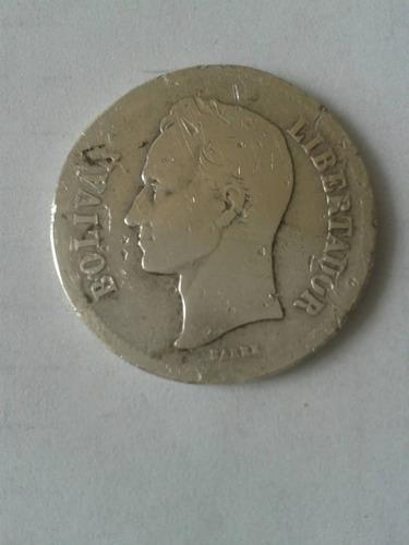 Moneda de plata lei 835 de 1926 de 10 gramos 2 bolivares