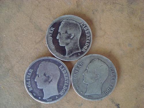 Monedas de 5 bolívares de plata