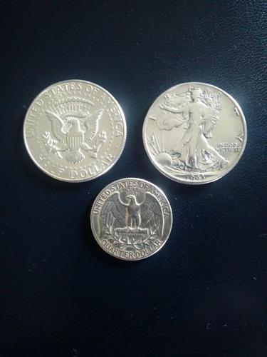 Monedas de plata lei 900 americanas años 1943; 1964