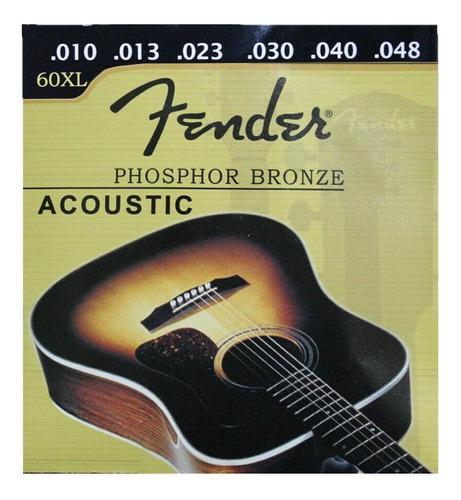 Set de cuerdas guitarra electro acustica metal 0.10 fender