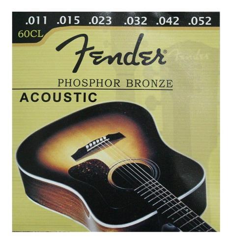 Set juego cuerdas guitarra electro acustica fender metal 011