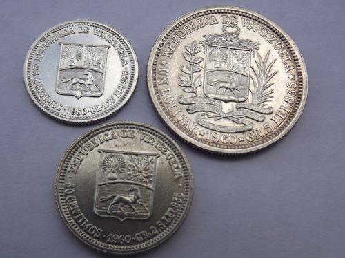 Tres monedas de plata: 1, 1/2 y 1/4 bolívares. año 1960