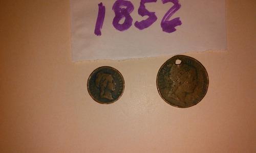 Un centavo y medio centavo monaguero año 1852